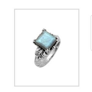 Labradorite &Sterling silver Princess cut ring .